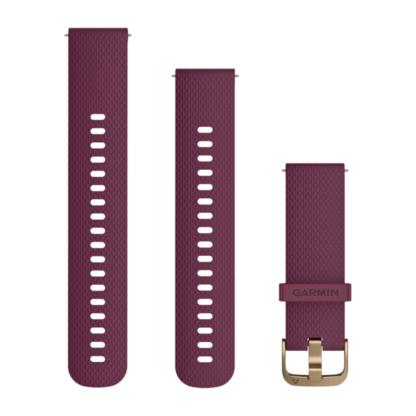 Pasek 20 mm Bordowozłoty silikonowy