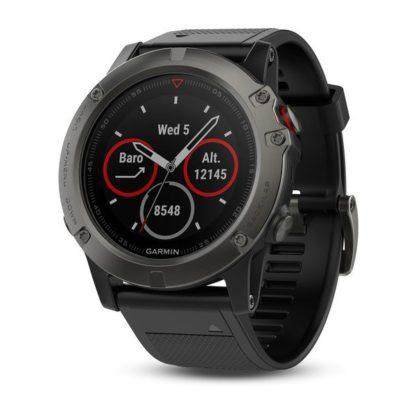 fēnix® 5X stalowoszary zegarek Sapphire z czarnym paskiem
