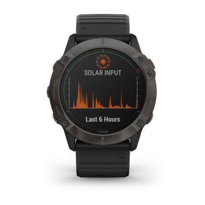 fēnix 6X – Pro Solar Pro Solar, tytanowo-szary z powłoką węglową (DLC) i czarnym paskiem