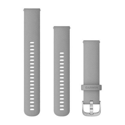 Pasek umożliwiający łatwe zdejmowanie (20 mm) Jasnoszary silikonowy ze srebrnym zapięciem