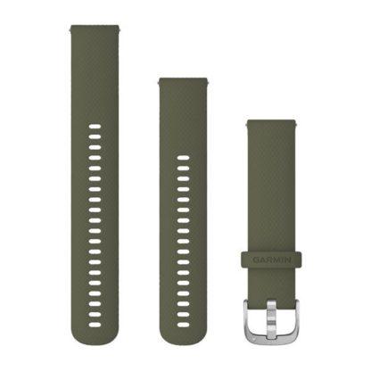 Pasek umożliwiający łatwe zdejmowanie (20 mm) Zielony silikonowy ze srebrnym zapięciem