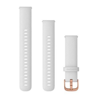 Paski z mechanizmem szybkiego odłączania (18 mm) Białe z różowozłotym zapięciem