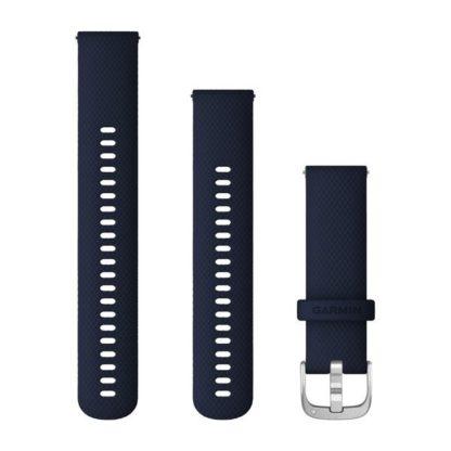 Paski z mechanizmem szybkiego odłączania (22 mm) Ciemnoniebieski ze srebrnym zapięciem