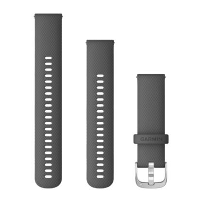 Paski z mechanizmem szybkiego odłączania (22 mm) Ciemnoszare ze srebrnym zapięciem