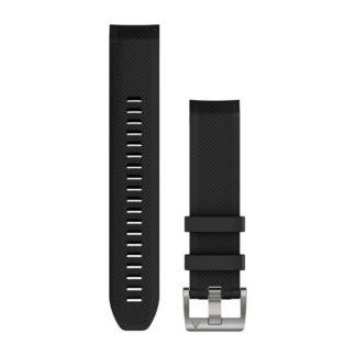 Paski do zegarka QuickFit® 22 Czarny silikonowy pasek (srebrny)
